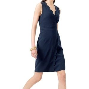 JCrew Navy Scalloped Crepe Dress